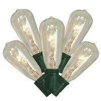 Set of 10 Transparent Clear ST40 Edison Style Christmas Lights - Green Wire