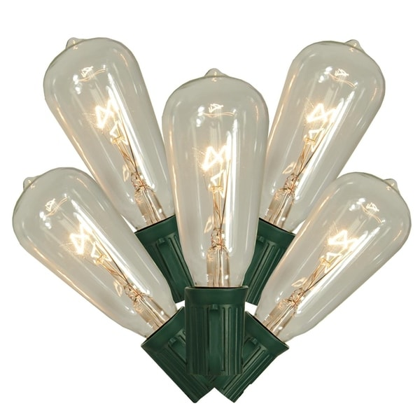 Clear Christmas Lights.Set Of 10 Transparent Clear St40 Edison Style Christmas Lights Green Wire