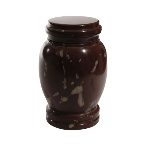 Polished Marble Decorative Cremation Urn with Lid, Chocolate