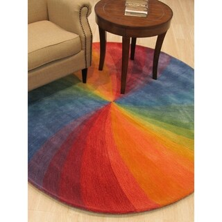 EORC Lollipop Hand-tufted Wool Contemporary Abstract Swirl Rug (11'9 Round)