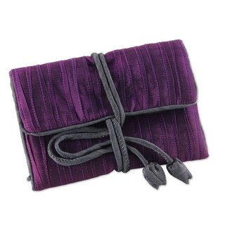 Handcrafted Silk Blend 'Enchanted Journey in Eggplant' Jewelry Roll (Thailand)