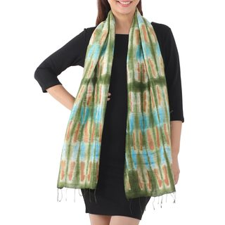 Handcrafted Silk 'Green Thai River' Scarf (Thailand)