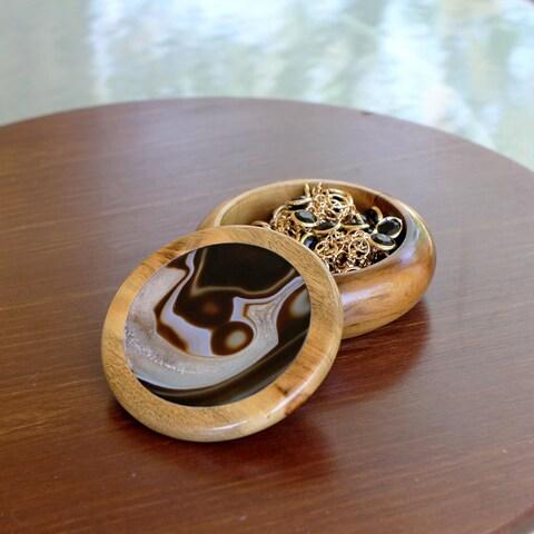 Handmade Cedar Wood 'Brown Universe' Agate Jewelry Box (Brazil)