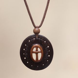 Handcrafted Coconut Shell 'Cross of Life' Necklace (Indonesia)
