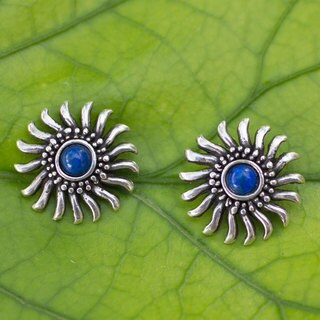 Handcrafted Sterling Silver 'Mexican Suns' Lapis Lazuli Earrings (Mexico)