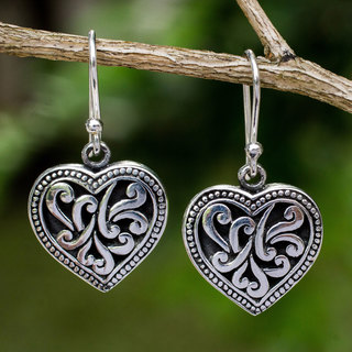 Handcrafted Sterling Silver 'Lighthearted Love' Earrings (Thailand)