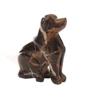 Polished Marble Dog, Decorative Figurine / Collectible, Chocolate