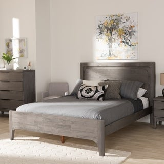Rustic Platinum Grey Wood Queen Size Platform Bed by Baxton Studio