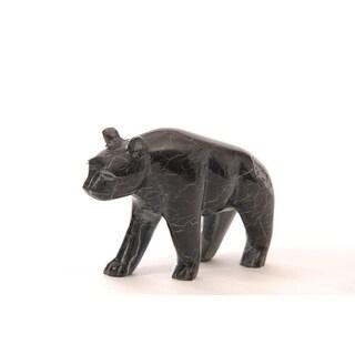 Polished Marble Bear, Decorative Figurine / Collectible, Black Zebra