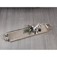 "28"" Long Aluminum Tray with Antler Handles, Nickel Plated"