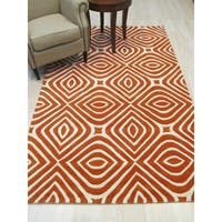 "Hand-tufted Wool Orange Transitional Geometric Marla Rug - 7'9"" x 9'9"""