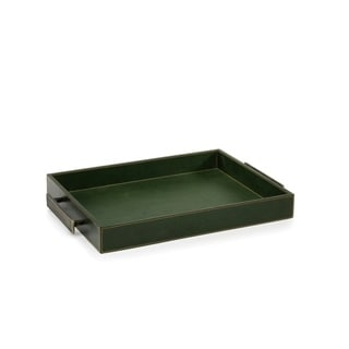 Leather Serving Tray with Handles, Rectangular Shaped, Green