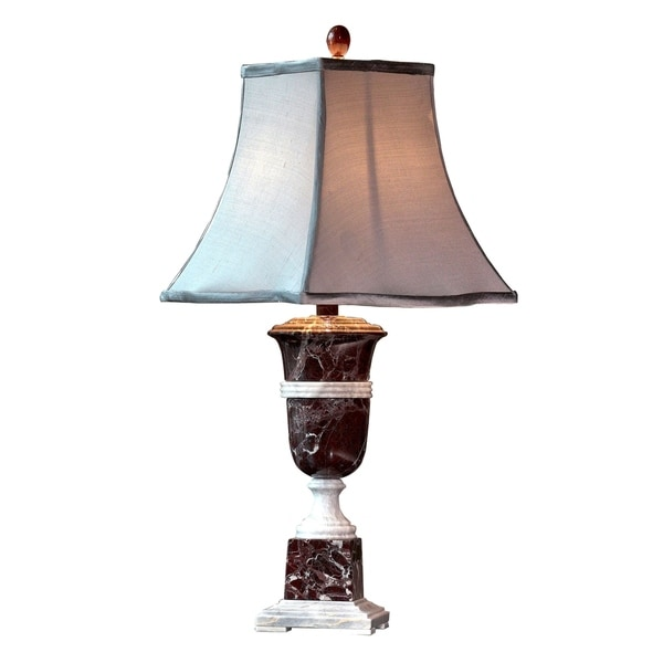 "31"" Tall Marble Table Lamp ""Aergos"" with Linen Shade, Red and White"