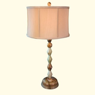 """31"""" Tall Onyx Table Lamp """"Centaur"""" with Linen Shade, Chartreuse"""