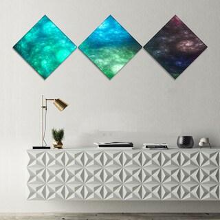 Designart 'Colorful Rotating Fractal Galaxies' Abstract Wall Art Canvas - 3 Diamond Canvas Prints