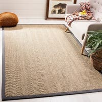 Safavieh Natural Fiber Natural/ Dark Grey Seagrass Rug - 8' x 10'