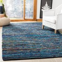 Safavieh Hand-Woven Rag Rug Bohemian Turquoise/ Black Cotton Rug - 8' x 10'