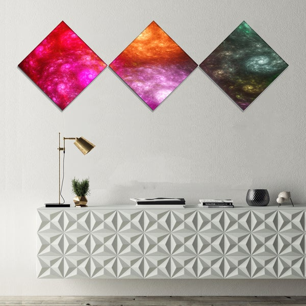 Designart 'Multi Color Rotating Galaxies' Abstract Wall Art Canvas - 3 Diamond Canvas Prints