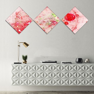 Designart 'Red Fractal Planet of Bubbles' Abstract Wall Art Canvas - 3 Diamond Canvas Prints