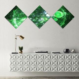 Designart 'Green Fractal Planet of Bubbles' Abstract Wall Art Canvas - 3 Diamond Canvas Prints
