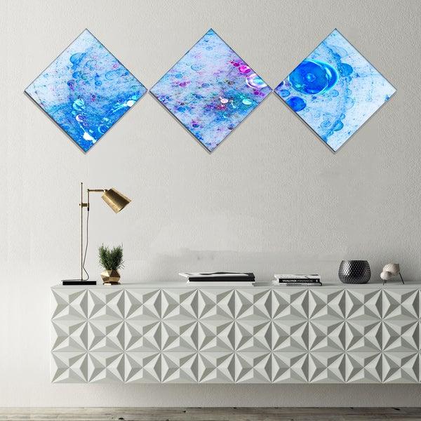 Designart 'Blue Fractal Planet of Bubbles' Abstract Wall Art Canvas - 3 Diamond Canvas Prints