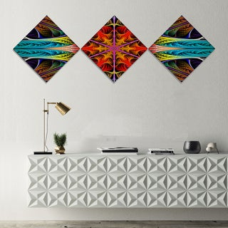 Designart 'Colorful Fractal Stained Glass' Abstract Canvas Art Print - 3 Diamond Canvas Prints