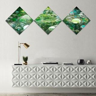 Designart 'Green Fractal Molecule Pattern' Abstract Wall Art Canvas - 3 Diamond Canvas Prints