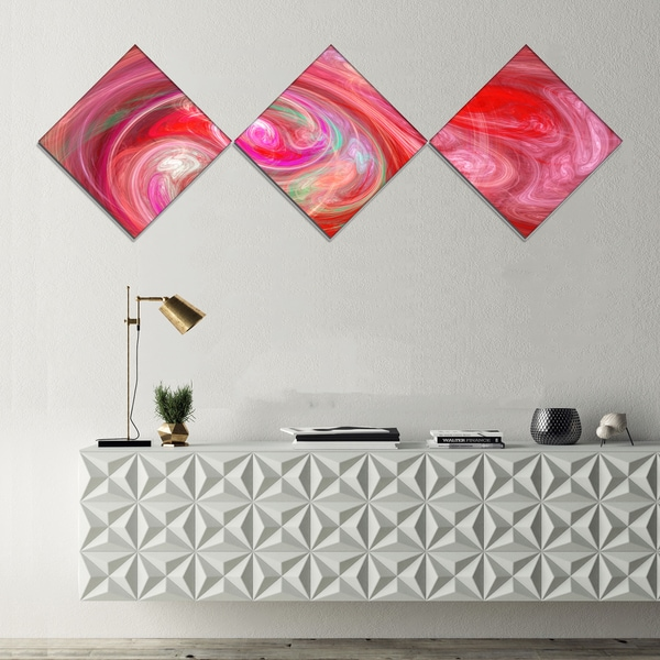 Designart 'Red Fractal Pattern with Circles' Abstract Canvas Art Print - 3 Diamond Canvas Prints