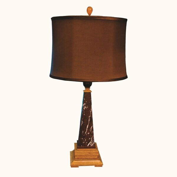 """31"""" Tall Marble Table Lamp """"Perseus"""" with Linen Shade, Chocolate and Caramel"""