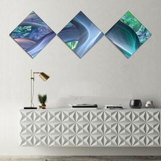 Designart 'Blue Fractal Exotic Plant Stems' Abstract Canvas Art Print - 3 Diamond Canvas Prints