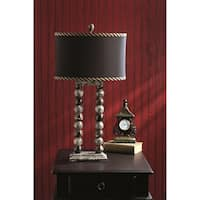 "29"" Tall Marble Table Lamp ""Marvin"" with Linen Shade, Taupe Gray & Espresso"