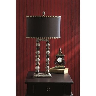 """29"""" Tall Marble Table Lamp """"Marvin"""" with Linen Shade, Taupe Gray & Espresso"""