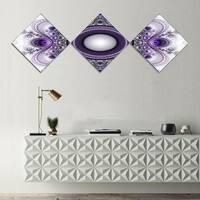 Designart 'Purple Fractal Pattern with Circles' Abstract Canvas Art Print - 3 Diamond Canvas Prints