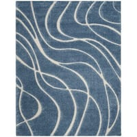 Safavieh Shag Light Blue/ Cream Rug - 8'6 x 12'