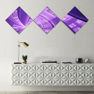 Designart 'Purple Fractal Exotic Plant Stems' Abstract Canvas Art Print - 3 Diamond Canvas Prints
