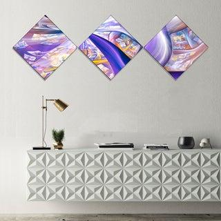 Designart 'Purple Gold Fractal Plant Stems' Abstract Canvas Art Print - 3 Diamond Canvas Prints