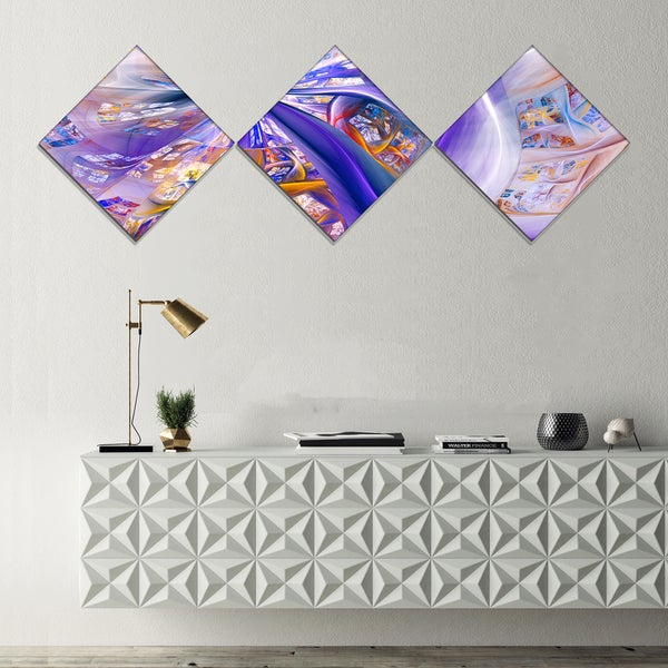 Designart 'Purple Yellow Fractal Curves' Abstract Wall Art - 3 Diamond Canvas Prints