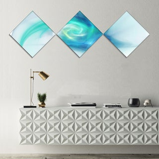 Designart 'Light Blue Fractal Abstract Texture' Abstract Canvas Wall Art - 3 Diamond Canvas Prints