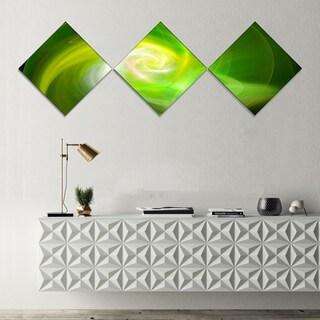 Designart 'Green Fractal Abstract Illustration' Abstract Canvas Wall Art - 3 Diamond Canvas Prints