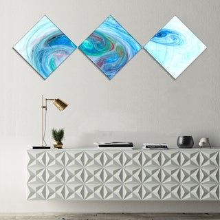 Designart 'Light Blue Fractal Illustration' Abstract Canvas Wall Art - 3 Diamond Canvas Prints