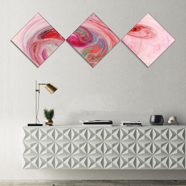 Designart 'Red Fractal Abstract Illustration' Abstract Canvas Wall Art - 3 Diamond Canvas Prints