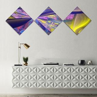 Designart 'Purple Yellow Fractal Curves' Abstract Canvas Art Print - 3 Diamond Canvas Prints