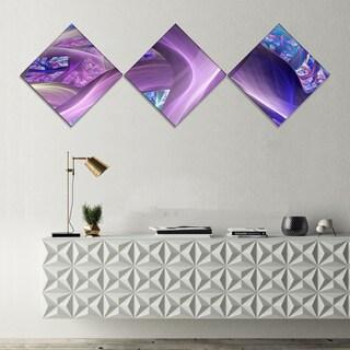 Designart 'Purple Blue Fractal Curves' Abstract Canvas Art Print - 3 Diamond Canvas Prints