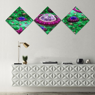 Designart 'Green Fractal Exotic Planet' Abstract Canvas Art Print - 3 Diamond Canvas Prints
