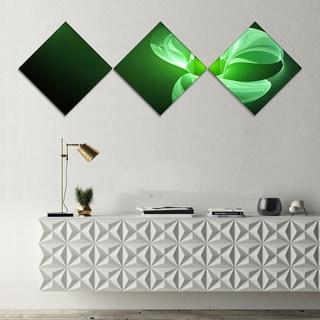 Designart 'Green Flower Fractal Illustration' Abstract Canvas Art Print - 3 Diamond Canvas Prints