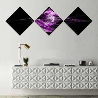 Designart 'Purple on Black Fractal Illustration' Abstract Canvas Art Print - 3 Diamond Canvas Prints