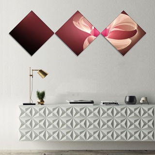 Designart 'Pink Flower Fractal Illustration' Abstract Canvas Art Print - 3 Diamond Canvas Prints