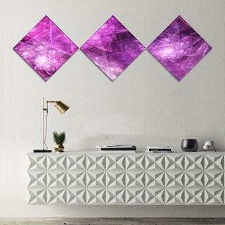 Designart 'Pink Rotating Polyhedron' Abstract Canvas Art Print - 3 Diamond Canvas Prints