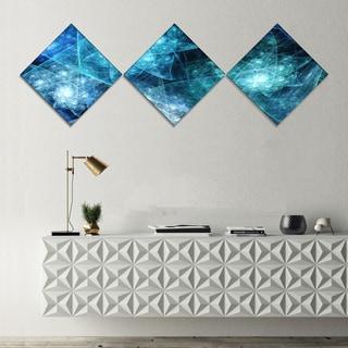 Designart 'Blue Rotating Polyhedron' Abstract Canvas Art Print - 3 Diamond Canvas Prints