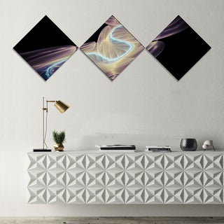 Designart 'Elegant Fantasy Fractal Design' Abstract Canvas Wall Art Print - 3 Diamond Canvas Prints